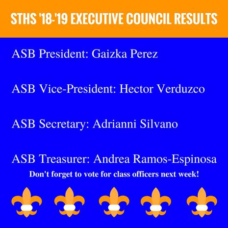 '18-'19 ASB Exec Election Results!